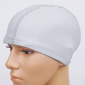Adult Waterproof PU Coating Stretchy Swimming Cap Keep Long Hair Dry Ear Protection Swim Cap (Silver)