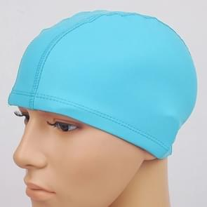 Adult Waterproof PU Coating Stretchy Swimming Cap Keep Long Hair Dry Ear Protection Swim Cap (Baby Blue)