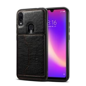 Dibase TPU + PC + PU Crazy Horse Texture Protective Case for Xiaomi Redmi Note 7 & Note 7 Pro, with Holder & Card Slots (Black)