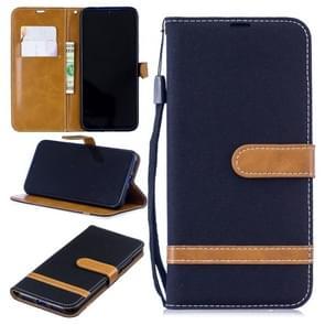 Kleur bijpassende denim textuur lederen draagtas voor Xiaomi Redmi opmerking 7  met houder & kaartsleuven & portemonnee & Lanyard (zwart)