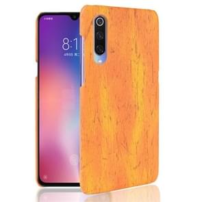 Wood Texture PC +PU Protective Case for Xiaomi Mi 9 SE (Yellow)