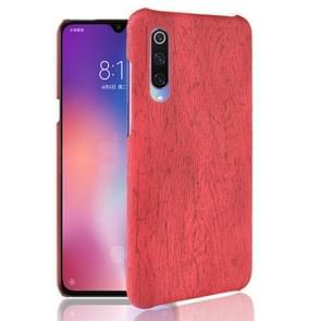 Hout textuur PC + PU Protevtive Case voor Xiaomi mi 9 (rood)