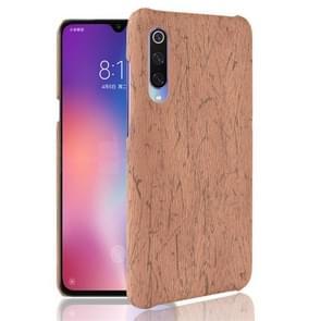 Hout textuur PC + PU Protevtive Case voor Xiaomi mi 9 (bruin)