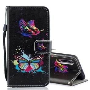 Colored Butterfly Pattern Horizontal Flip Leather Case for Xiaomi Mi 9, with Holder & Card Slots & Wallet