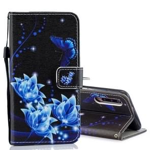 Blue Folwer Pattern Horizontal Flip Leather Case for Xiaomi Mi 9, with Holder & Card Slots & Wallet