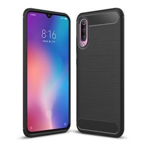 Brushed Texture Carbon Fiber Shockproof TPU Case for Xiaomi Mi 9 (Black)