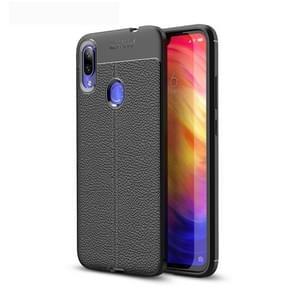 Litchi Texture TPU Shockproof Case for Xiamo Redmi Note 7 / Redmi Note 7 Pro(Black)