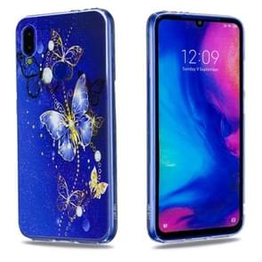 High Transparent Painted Purple Butterfly Pattern TPU Case for Xiaomi Redmi Note 7 / Redmi Note 7 Pro