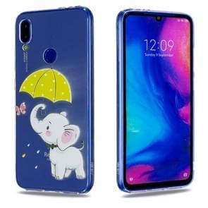 High Transparent Painted Elephant under the Umbrella Pattern TPU Case for Xiaomi Redmi Note 7 / Redmi Note 7 Pro
