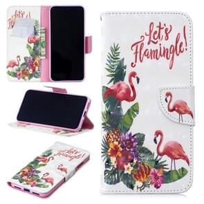 3D gekleurde tekening Engels Flamingo patroon horizontale Flip lederen case voor Xiaomi Redmi Note 7/Redmi Note 7 Pro  met houder & kaartsleuven & portemonnee
