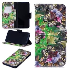 3D Colored Drawing Green Butterfly Pattern Horizontal Flip Leather Case for Xiaomi Redmi Note 7 / Redmi Note 7 Pro, with Holder & Card Slots & Wallet