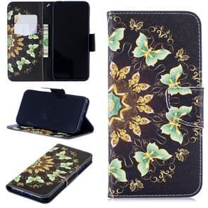 Gekleurde tekening halfronde Butterfly patroon horizontale Flip lederen case voor Xiaomi Redmi Note 7/Redmi Note 7 Pro  met houder & kaartsleuven & portemonnee