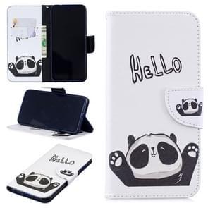 Gekleurde tekening Hello Panda patroon horizontale Flip lederen case voor Xiaomi Redmi Note 7/Redmi Note 7 Pro  met houder & kaartsleuven & portemonnee