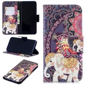 Colored Drawing Flower Elephant Pattern Horizontal Flip Leather Case for Xiaomi Redmi Note 7 / Redmi Note 7 Pro, with Holder & Card Slots & Wallet
