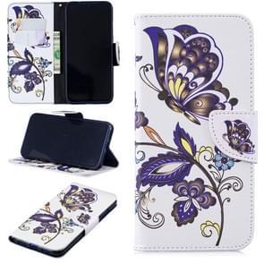 Gekleurde tekening witte vlinders patroon horizontale Flip lederen case voor Xiaomi Redmi Note 7/Redmi Note 7 Pro  met houder & kaartsleuven & portemonnee