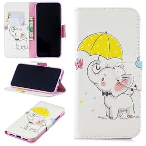 Colored Drawing Elephant under the Umbrella Pattern Horizontal Flip Leather Case for Xiaomi Redmi Note 7 / Redmi Note 7 Pro, with Holder & Card Slots & Wallet