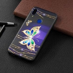 Embossed Painted Big Butterfly Pattern TPU Case for Xiaomi Redmi Note 7 / Redmi Note 7 Pro