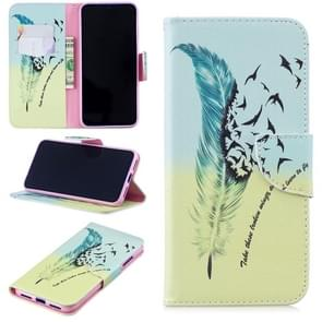 Colored Drawing Feather Bird Pattern Horizontal Flip Leather Case for Xiaomi Redmi Note 7 / Redmi Note 7 Pro, with Holder & Card Slots & Wallet