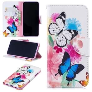 Colored Drawing Two Butterflies Pattern Horizontal Flip Leather Case for Xiaomi Redmi Note 7 / Redmi Note 7 Pro, with Holder & Card Slots & Wallet