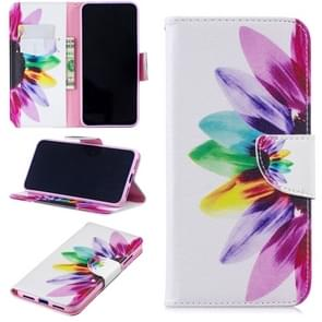 Colored Drawing Sunflower Pattern Horizontal Flip Leather Case for Xiaomi Redmi Note 7 / Redmi Note 7 Pro, with Holder & Card Slots & Wallet