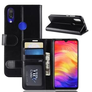 R64 Texture Single Fold Horizontal Flip Leather Case for Xiaomi Redmi Note 7, with Holder & Wallet & Card Slots & Photo Frame (Black)