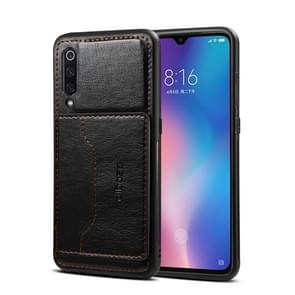 Dibase TPU + PC + PU Crazy Horse Texture Protective Case for Xiaomi Mi 9 SE, with Holder & Card Slots (Black)