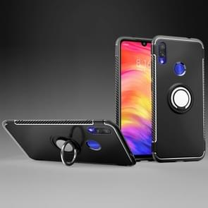 Magnetic Armor Protective Case for Xiaomi Redmi Note 7, with 360 Degree Rotation Ring Holder (Black)