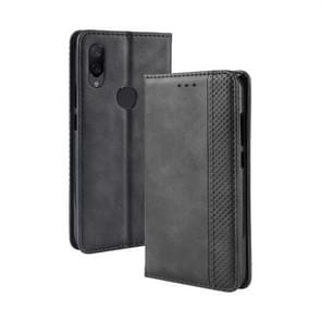 Magnetic Buckle Retro Texture Horizontal Flip Leather Case for Xiaomi Redmi Note 7, with Holder & Card Slots & Wallet (Black)