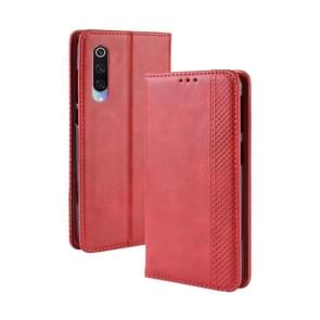 Magnetic Buckle Retro Texture Horizontal Flip Leather Case for Xiaomi Mi 9, with Holder & Card Slots & Wallet (Red)
