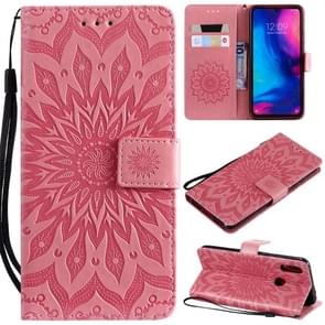 Sun Embossing Pattern Horizontal Flip Leather Case for Xiaomi Redmi Note 7, with Card Slot & Holder & Wallet & Lanyard (Pink)