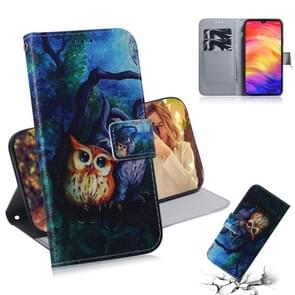 Oil Painting Owl Pattern Coloured Drawing Horizontal Flip Leather Case for Xiaomi Redmi Note 7, with Holder & Card Slots & Wallet