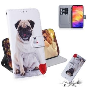 Pug Pattern Coloured Drawing Horizontal Flip Leather Case for Xiaomi Redmi Note 7, with Holder & Card Slots & Wallet
