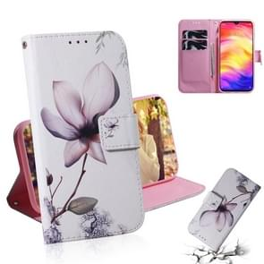 Magnolia Flower Pattern Coloured Drawing Horizontal Flip Leather Case for Xiaomi Redmi Note 7, with Holder & Card Slots & Wallet