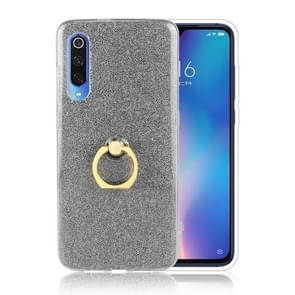 Glittery Powder Shockproof TPU Protective Case for Xiaomi Mi 9, with 360 Degree Rotation Ring Holder (Black)