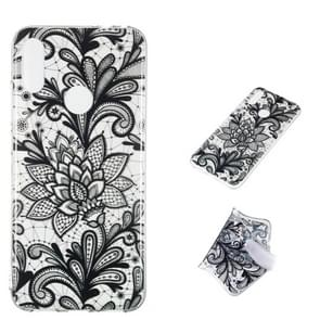 Black Flower Pattern Highly Transparent TPU Protective Case for Xiaomi Redmi Note 7