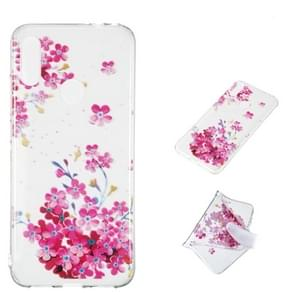 Red Plum Blossom Pattern Highly Transparent TPU Protective Case for Xiaomi Redmi Note 7