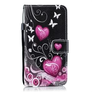 Little Peach Heart Pattern Horizontal Flip Leather Case for Xiaomi Redmi Note 7, with Holder & Card Slots & Wallet