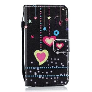 Colorful Heart Pattern Horizontal Flip Leather Case for Xiaomi Redmi Note 7, with Holder & Card Slots & Wallet