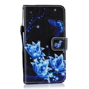 Blue Butterfly Flower Pattern Horizontal Flip Leather Case for Xiaomi Redmi Note 7, with Holder & Card Slots & Wallet