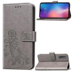 Lucky Clover Pressed Flowers Pattern Leather Case for Xiaomi Mi 9, with Holder & Card Slots & Wallet & Hand Strap (Grey)