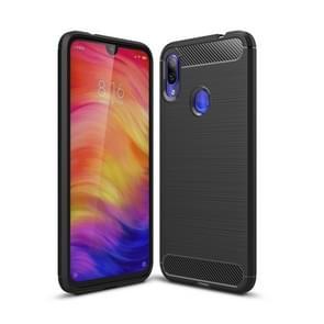 Brushed Texture Carbon Fiber TPU Case for Xiaomi Redmi Note 7 / Redmi Note 7 Pro(Black)