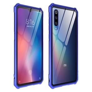 Snap-on Aluminum Frame and Tempered Glass Back Plate Case for Xiaomi 9(Purple Blue)