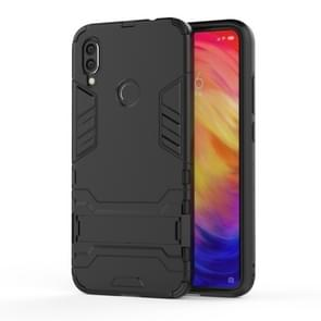 Shockproof PC + TPU Case for XiaoMi RedMi Note 7, with Holder (Black)