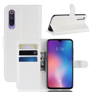 Litchi Texture Horizontal Flip Leather Case for Xiaomi Mi9 SE, with Wallet & Holder & Card Slots(White)