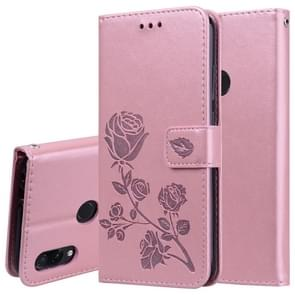 Rose Embossed Horizontal Flip PU Leather Case for Xiaomi Redmi Note 7, with Holder & Card Slots & Wallet(Rose Gold)