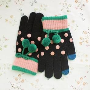 2 Pack Dot Touch Wool Gloves (Colour: Black)
