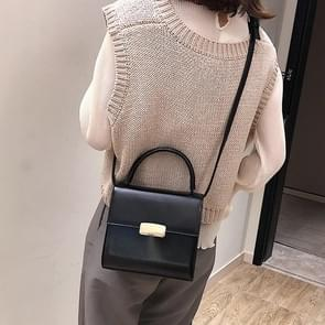Solid Color Fresh Small Square Bag Casual Shoulder Bag Ladies Handbag (Black)