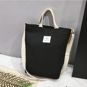 Casual Solid Color Canvas Shoulder Diagonal Bag Large Capacity Backpack Bag (Black)