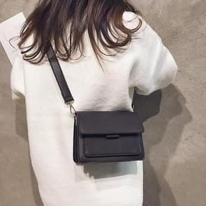 Solid Color Small Square Bag Casual Shoulder Bag Ladies Handbag (Black)