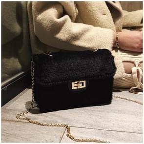 Fashion Plush PU Leather Small Square Bag Crossbody Shoulder Bag (Black)